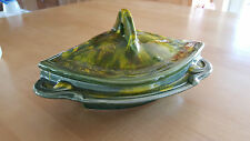 CALIFORNIA ORIGINALS POTTERY USA Covered Dish 402B  Glaze on Greens/Yellow
