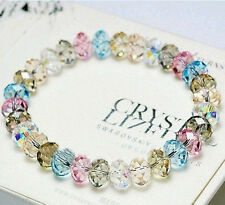 New 1pcs Crystal Faceted Loose beads Bracelet Stretch Bangle Woman's Jewelry