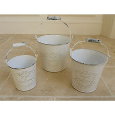 SetOf 3 PLANT POT PLANTER Shabby French Vintage Ivory Retro Metal BUCKET Vases