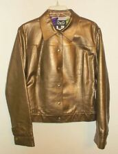 DOLCE & GABBANA D&G Gold Bronze Metallic Leather Jacket Italy SZ 46 10 M