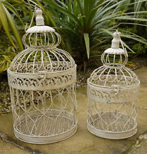 2 Wedding Home candle floral Bird Cages Birdcage Shabby antique Chic Cream GIFT