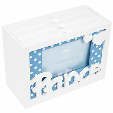 "Prince Wooden PHOTO Storage Box 5"" x 7"" 60 ALBUM Shabby Chic Vintage BABY BOY"