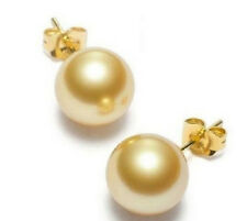 CHARMING 10-11MM AAA+++ NATURAL SOUTH SEA GENUINE GOLD PEARL EARRING 14K YELLOW