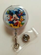Disney Retractable Badge Reel Name Tag ID Holder Mickey Mouse Pluto, Donald Duck