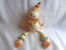 "VINTAGE HARD PLASTIC HUGE 14"" BABY TOY RATTLE-CLOWN"
