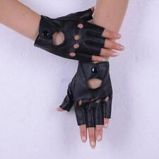 Women's Punk Faux Leather Fingerless Mittens Motorcycle Half Finger Gloves Black