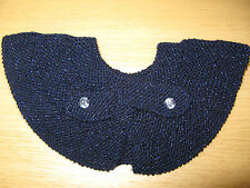 Vintage-Style Hand Knitted Collarette Neck Tie Scarf: Midnight Blue
