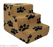 Pet Stairs Steps Best Pet Supplies 3-Step Foam Cover ONLY - Black Paw on Beige