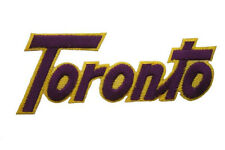 TORONTO WORD PURPLE WITH YELLOW OUTLINE EMBROIDERED IRON-ON PATCH CREST BADGE
