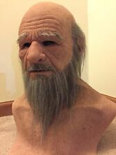 Scary realistic halloween Silicone Mask old man bearded Real flesh Masks