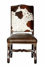 Genuine Cowhide Leather Dining Chair + Distressed Wood Frame + Brass Nails $390