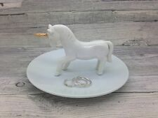 SECONDS Standing Unicorn Ceramic Ring Stand & Jewellery DISH White & Gold