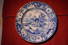 Blue & white transferware pearlware plate 'Family and Mule' c.1820 (A571)
