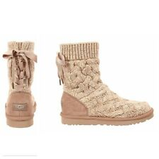 NEW UGG AUSTRALIA ISLA WOMENS OATMEAL KNIT CABLE SWEATER BOOTS (S3)  SZ  10