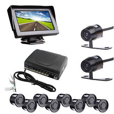 "Car Rear Front View Kit 4.3"" Monitor + Reverse Front Cameras + 8 Parking Sensors"