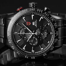 Blacktip Shark Luxury Mens Stainless Steel Date Day Quartz Wrist Sport Watch+Box