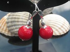 NEW Stunning Red Coral Bamboo 12mm Bead 925 Sterling Silver Earrings with Hook