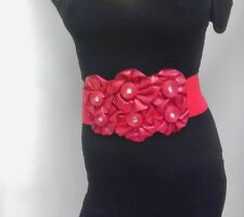 FAUX LEATHER RED ELASTIC WIDE BELT WITH FLOWERS IN MIDDLE SIZE S M L XL