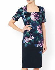 Monsoon Peony Squared Neckline Fully Lined Stretch Dress 12 UK / Eur 40