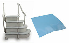 Confer 4-Step Above Ground Pool Curved Grand Entry System Steps Stairs + Mat Pad