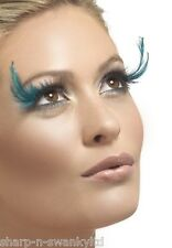 Ladies Long Black/Turquoise Feather Eyelashes Burlesque Drag Queen Fancy Dress
