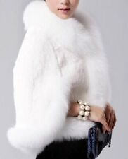 NEW White Rex Rabbit Fur Evening Party Short Cape Coat Blazer Jacket 12 14