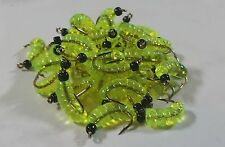 12 -  BLK  BH Rubber Wax Worm Grub Chartreuse Wet Fly - Trout, Crappie, Pan Fish