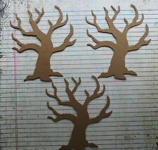 3 Wide Bare Tree Bare chipboard die cuts diecuts for fall Halloween and more