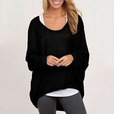 Womens Ladies Long Sleeve Blouse Loose Baggy Batwing Shirt Jumper Tops Oversized