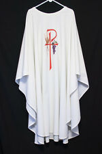 WHITE CHASUBLE with Wheat, Grapes, XP, Priest Vestments Church Clergy Apparel