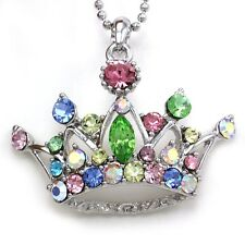 Crown Princess Tiara Heart Necklace Multicolor Crystal Silver Tone Kid Pendant D