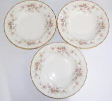 "Paragon ""Victoriana Rose"" Fine English Bone China Set of  3 Rimmed Soup Bowls."