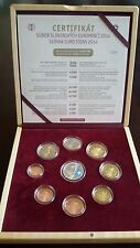 """Slovakia Proof Annual Coin Set 2014 with silver medal """"Sochi"""" wooden box 1300pcs"""
