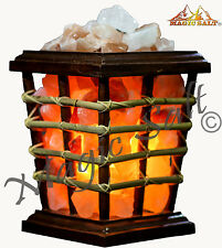 Therapeutic Himalayan Salt Chunks Cane & Wood Basket Lamp -christmas present