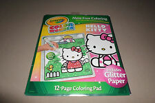 Hello Kitty Mess Free Crayola Color Wonder 12 Pg Coloring Pad/Glitter Paper, NEW