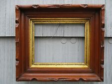 Antique 19thC Adirondack Carved Walnut Deep Picture Frame with Glass  fits 8x10