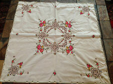 "Gorgeous Vintage 32"" Square Embroidered Tablecloth with Open Cutwork 4 Napkins"