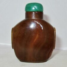 "3.4"" Chinese Brown / Dark Burnt Orange Agate Snuff Bottle with Green Lid"