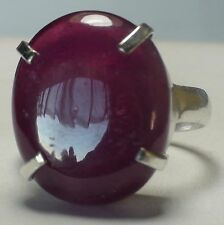 BIG! 35.50 CT NATURAL BLOOD RED RUBY RING 925 STERLING SILVER.SIZE 9.0
