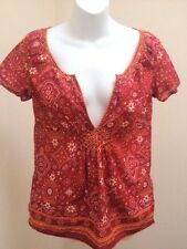 Eddie Bauer S Top Red Orange Bandanna Smocked Boho Lightweight Shirt