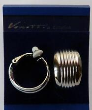 SALE *BROAD WEDDING RING HALF HOOP STYLE CLIP-ON EARRINGS - RIDGED DETAIL - S/P*
