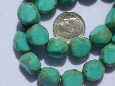 (15) Czech FP 3-Cut Faceted Rounds 12mm - Opaq Turquoise w/ Picasso edge - #064