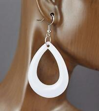 "White teardrop earrings lightweight dangle cutout oval outline 2.5"" long"