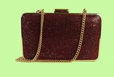 MICHAEL KORS ELSIE Red Crystal Box Clutch/Shoulder Bag Msrp $298.00