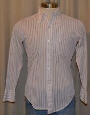 Montgomery Ward Vintage Long Sleeve Cream White Brown Striped Shirt Mens Small