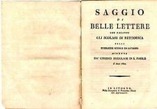 Libro Saggio di Belle Lettere Scuola Retorica Livorno Chierici Regolari S. Paolo
