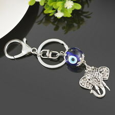 1PC Glass Evil Eye Silver Pendant Elephant Animal Key Ring Chain