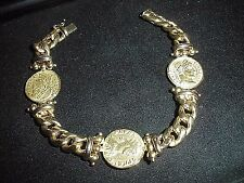 TAGLIAMONTE Designs ~14K  With 3 Venitian Coins Bracelet Solid Gold 28.6 g Heavy