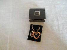 Avon double heart gold tone surgical steel post earrings new old stock