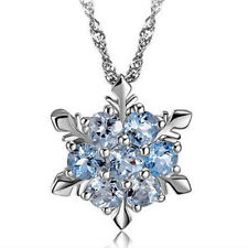 Charm Vintage lady Blue Crystal Snowflake Frozen Flower Silver Necklace Pendant